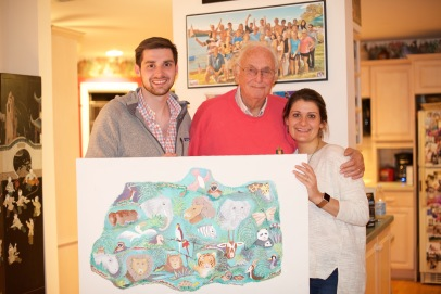 Peter, Papa, me and Charlotte with Papa's painting