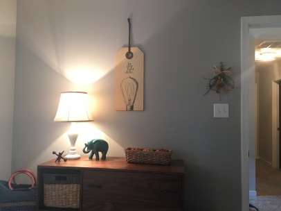 I re-decorated the changing table Peter made into a guest room dresser
